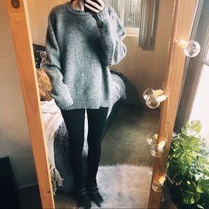 Vintage 100% Wool Gray Sweater Grunge Boho Warm